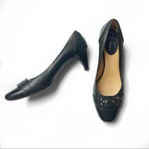 Cole Haan gray leather buckle heel pump